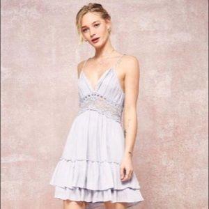 Crochet Lace Backless Ruffled Casual Dress